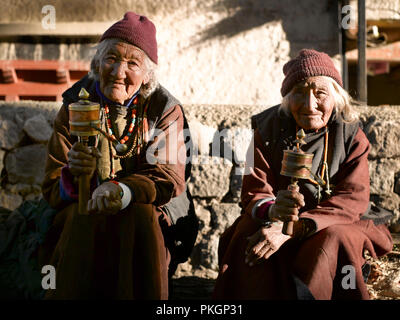 TWO OLD LADIES, TINGMOSGANG, OF LADAKH, LADAKH, JAMMU & KASHMIR, INDIA, ASIA - Stock Photo