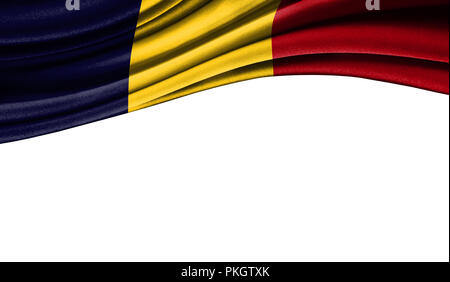 Grunge colorful flag of Chad with copyspace for your text or images,isolated on white background. Close up, fluttering downwind. - Stock Photo