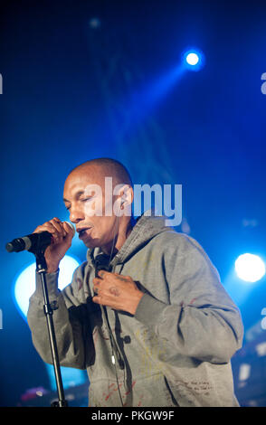 English producer and vocalist Tricky performing at the Radio 1 Sessies, in Antwerp (Belgium, 18/11/2015) - Stock Photo