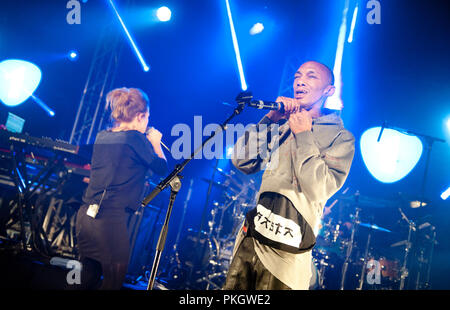 English producer and vocalist Tricky performing with Belgian singer Selah Sue at the Radio 1 Sessies, in Antwerp (Belgium, 18/11/2015) - Stock Photo