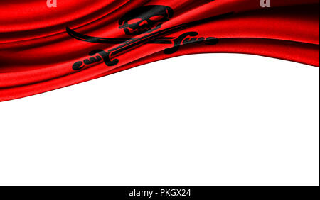 Grunge colorful flag of Pirates red with copyspace for your text or images,isolated on white background. Close up, fluttering downwind. - Stock Photo