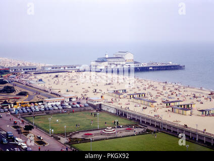 View of Britannia Pier and Gold Mile from Atlantis Resort Tower at Great Yarmouth, Norfolk in September, 1971 - Original Archival Image - Stock Photo