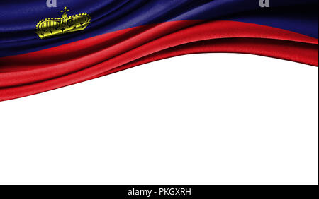 Grunge colorful flag of Liechtenstein with copyspace for your text or images,isolated on white background. Close up, fluttering downwind. - Stock Photo