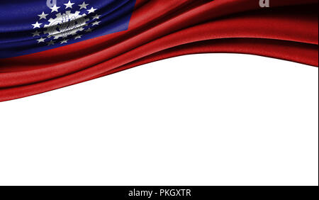 Grunge colorful flag of Myanmar-Burma with copyspace for your text or images,isolated on white background. Close up, fluttering downwind. - Stock Photo