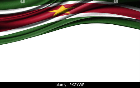 Grunge colorful flag of Suriname with copyspace for your text or images,isolated on white background. Close up, fluttering downwind. - Stock Photo