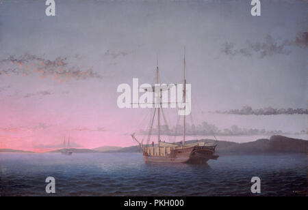 Lumber Schooners at Evening on Penobscot Bay. Dated: 1863. Dimensions: overall: 62.5 x 96.8 cm (24 5/8 x 38 1/8 in.)  framed: 97.8 x 129.5 x 10.2 cm (38 1/2 x 51 x 4 in.). Medium: oil on canvas. Museum: National Gallery of Art, Washington DC. Author: FITZ HENRY LANE. - Stock Photo