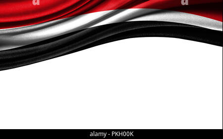Grunge colorful flag of Yemen with copyspace for your text or images,isolated on white background. Close up, fluttering downwind. - Stock Photo