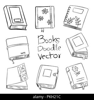 Books Doodle Vector Hand drawn for coloring book, isolated on white background - Vector Cartoon Illustration. - Stock Photo