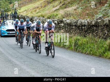 OVO Tour of Britain 2018,  Mens Cycle Race, Stage 5 Team Time Trial, Cockermouth to Whinlatter 14 kms - Stock Photo