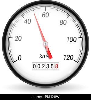 Speedometer. White car dashboard gauge - Stock Photo