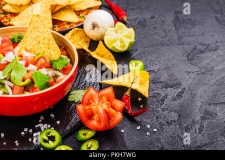 Mexican Pico de Gallo salsa - Stock Photo
