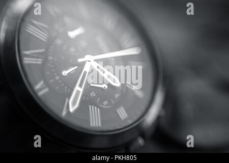 Chronograph hand watch close up makro shot - Stock Photo