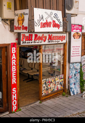 Lady Diana Barber Shop, located near the harbor and very popular with tourists - Stock Photo
