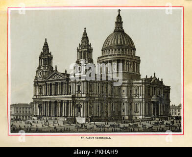 St Paul's Cathedral, 1880 high quality steel engraving of the church built by Christopher Wren and finished in 1715 after the Great Fire of London in 1666 destroyed the Medieval building - Stock Photo