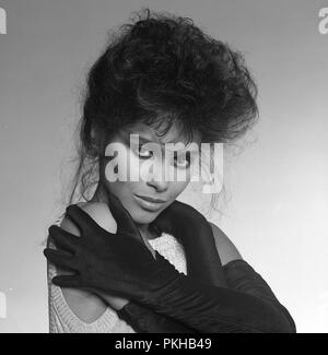 London, UK. The singer Vanity (1959-2016) (also known as Denise Katrina Matthews), former lover and music partner of Prince and lead singer of Vanity 6.  She left the music business after a serious illness in the mid 1980s and became a born again Christian.  Died 15th February 2016.  This photo taken in circa 1982. ReCaptioned - 24th February 2016.  Ref: LMK11-LIB240216-001 Credit: Landmark / MediaPunch. - Stock Photo