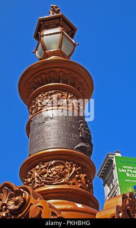plaque on Lotta Crabtree fountain public monument,  San Francisco, California - Stock Photo
