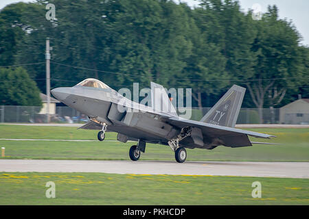 Oshkosh, WI - 28 July 2018:  A F-22 taking off or landing at an airshow. - Stock Photo