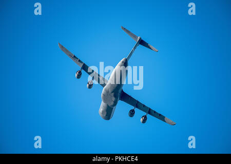 Oshkosh, WI - 28 July 2018:  A C-5 Galaxy flying overhead at an airshow - Stock Photo