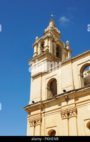 Bell tower of St. Paul Cathedral in Mdina, Malta - Stock Photo
