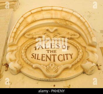 Tales of the silent city, stone signboard in Mdina, Malta - Stock Photo