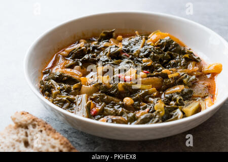 Homemade Healthy Chard with Rice, Onions and Tomato Paste / Turkish Food Pazi. Traditional Organic Food. - Stock Photo