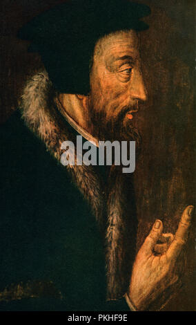 John Calvin, born Jehan Cauvin, 1509 –1564.  French theologian, pastor and reformer in Geneva during the Protestant Reformation. - Stock Photo