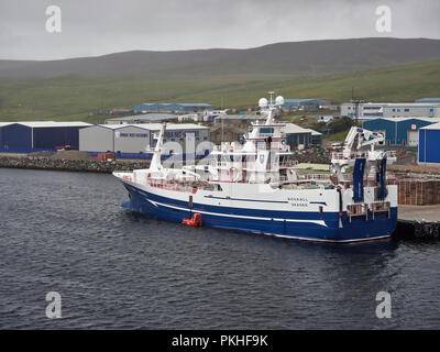 The Rockall a Deep sea Trawler tied up alongside the Shetland Catch Quay in Lerwick on a Misty day in August, Shetland Islands, Scotland. - Stock Photo