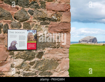 Close up of information board, 14th century dovecote and Bass Rock at Tantallon Castle, North Berwick, East Lothian, Scotland, UK - Stock Photo