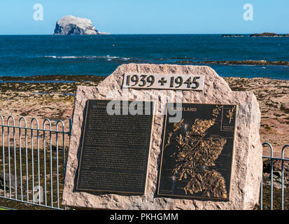 Monument tribute to Royal Air Force Coastal Command in Scotland, North Berwick, East Lothian, Scotland, UK, with Bass Rock on horizon - Stock Photo