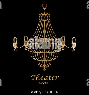 Vector illustration for theater. Gold logotype on a black background. - Stock Photo