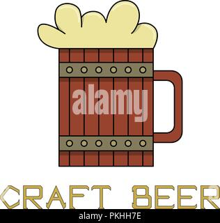 Bright illustration for fans of craft beer. A wooden beer mug in retro style. - Stock Photo