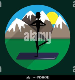 Silhouette of the girl the practicing yoga against the background of mountains.  Vrishasana (Tree Pose). - Stock Photo