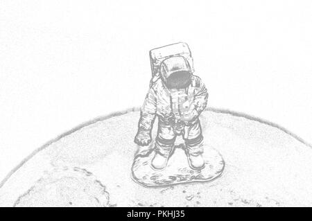 An astronaut on the moon in a space suit. Illustration - Stock Photo