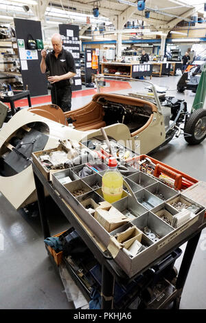 engineers assembling Morgan sports car at Morgan manufacturing plant Malvern Worcestershire, England GB, Uk - Stock Photo