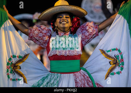 Mexican Banda Monumental artistic group performing at the 2018 Spasskaya Tower International Military Music Festival on Moscow's Red Square, Russia - Stock Photo