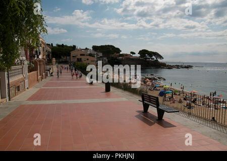 passeig Canadell in Calella de palafrugell, costa brava, spain - Stock Photo