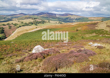 A view North from Eglwyseg Escarpment down the Dee Valley and the Vale of Llangollen, Wales, UK - Stock Photo