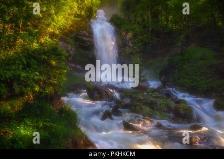 Glessbach waterfall in Axalp - Switzerland - Stock Photo