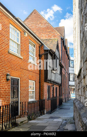 Historic houses along Church Lane in the Old Town part of Southampton City Centre, Southampton, England, UK - Stock Photo