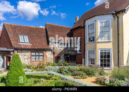 The Tudor knot gardens which is part of the Tudor House and Gardens Museum in the Old Town part of Southampton, Hampshire, England, UK - Stock Photo