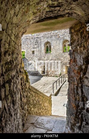 King John's Palace, a ruined Norman merchant's house located within the historic Old Town Walls in Southampton, Old Town, England, UK - Stock Photo