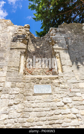 Norman Fire place in King John's Palace, a ruined Norman merchant's house located within the Old Town Walls in Southampton, Old Town, England, UK - Stock Photo