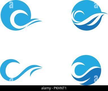 Water wave icon vector illustration design logo - Stock Photo