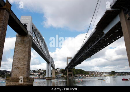 Plymouth, Devon, UK. 13th September, 2018. The Royal Albert and Tamar bridges spanning the River Tamar between Cornwall and Devon. The Royal Albert Br - Stock Photo