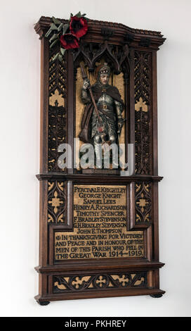 War memorial in All Saints Church, Thorpe Acre, Loughborough, Leicestershire, England, UK - Stock Photo