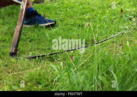 A man mowing a grass with old useful tool known as scythe.  In the village - Stock Photo