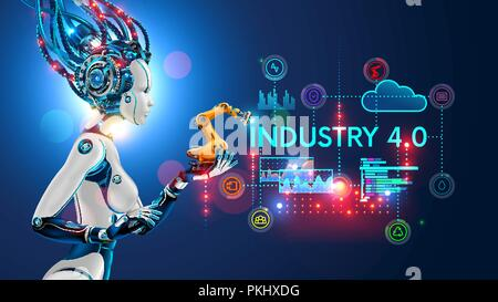 Concept Industry 4.0. Artificial intelligence automation of product manufacturing on smart factory. Ai uses intellectual management of industrial processes. Robot woman holding in palm a robotic arm - Stock Photo