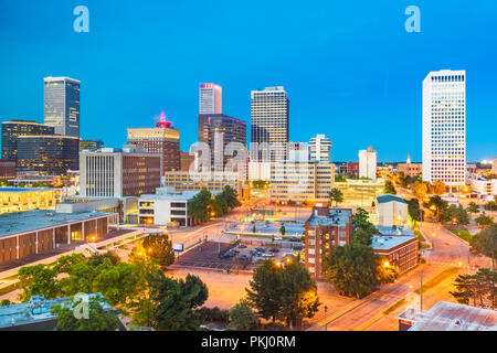 Tulsa, Oklahoma, USA downtown city skyline at twilight. - Stock Photo