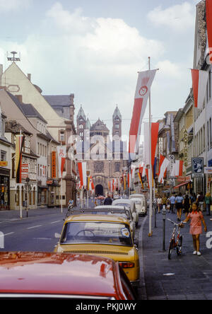 Speyer Cathedral as seen from Maximilianstrasse. Taken in August 1973. - Stock Photo
