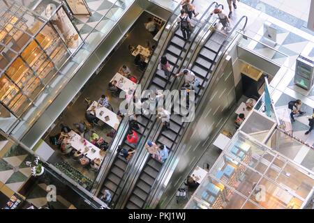 Lobby Escalators in the Atrium Time Warner Center at Columbus Circle, NYC - Stock Photo